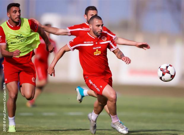 Joseph Zerafa during Malta's training session on Friday.