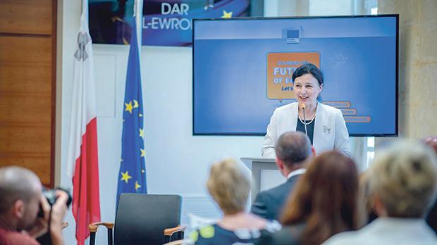 Věra Jourová, European Commissioner for Justice, Consumers and Gender Equality, attended the dialogue event in Malta and delivered a keynote speech on what the European Commission is doing for consumers. Photo: Jason Borg/DOI