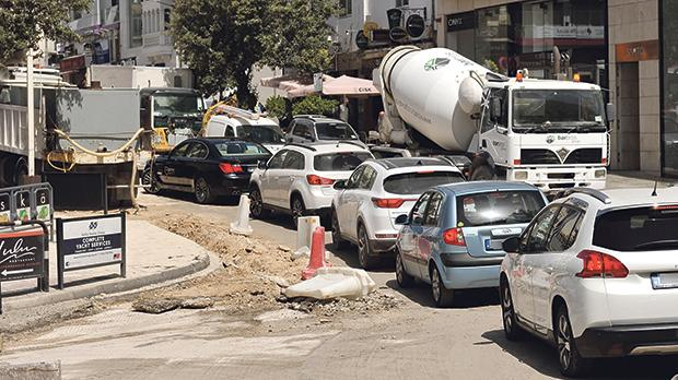 There were long tailbacks in Paceville yesterday because of roadworks the local council says Transport Malta did not announce. Photos: Chris Sant Fournier