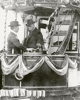 Sir Charles Mansfield Clarke inaugurating the tramway on February 23, 1905.