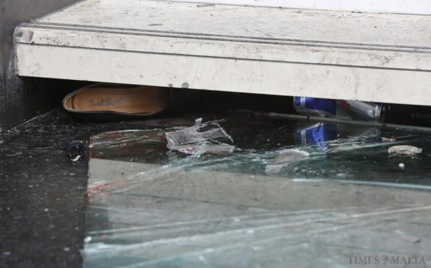 A woman's shoe is seen wedged under a step leading out of the PlusOne club in Paceville after 74 people were injured when a glass railing on a crowded staircase gave way in the early hours of November 15. Photo: Darrin Zammit Lupi