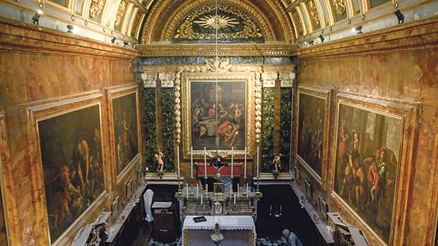 The paintings depicting the corporal acts of charity by Giuseppe d'Arena. Photo: Jonathan Borg