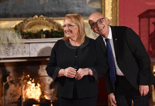 Edgar Preca, husband of Maltese President Marie Louise Coleiro Preca leans over to smile at the camera during the festive greetings held at the Presidential Palace in Valletta on December 27. Photo: Mark Zammit Cordina