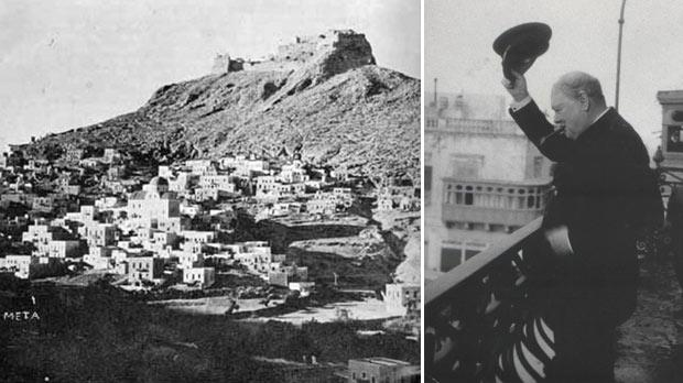 The city of Leros after the air strikes between October 9 and 31, 1943. Right: Churchill on the Palace balcony waving his black naval cap to the public gathered in front of the Palace.
