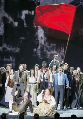 The cast of Les Misérables performing Do You Hear the People Sing during the American Theatre Wing's 68th annual Tony Awards at Radio City Music Hall in New York, in June 2014. Photos: Carlo Allegri/Reuters