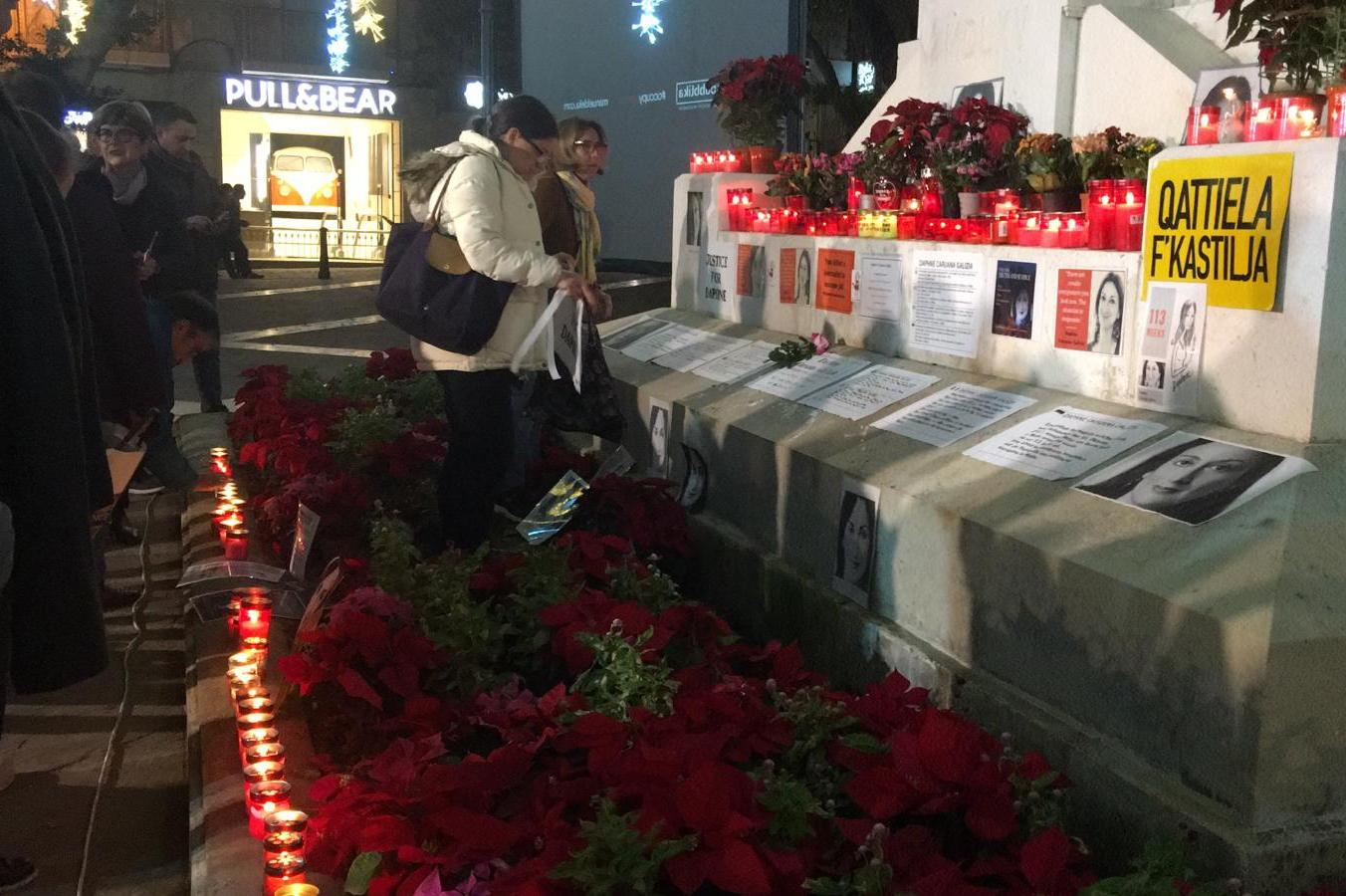 Activists pay tribute to Daphne Caruana Galizia in Valletta.