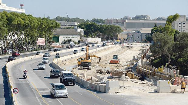 Preparatory work under way on the Marsa flyover project. Photo: Matthew Mirabelli