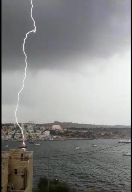 Aida Galea sent in a dramatic picture of a lightning strike in St Paul's Bay on Monday morning.