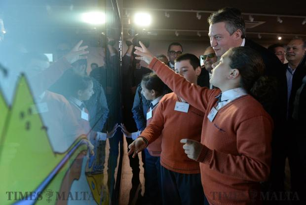 School children together with Konrad Mizzi admire one of the exhibits at the new Water Conservation Centre in Rabat on April 21. Photo: Matthew Mirabelli