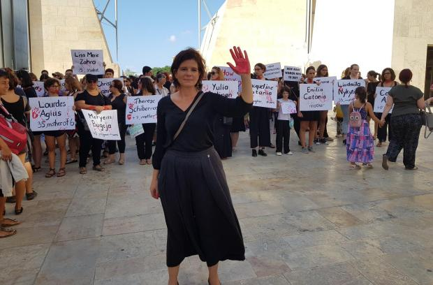 Lara Dimitrijevic during the femicide march.
