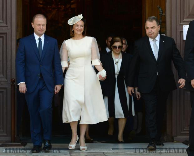 Joseph Muscat and his wife Michelle exit St John's Co Cathedral in Valletta after hearing mass to celebrate the opening of Malta's 13th Parliament on June 24. Photo: Matthew Mirabelli