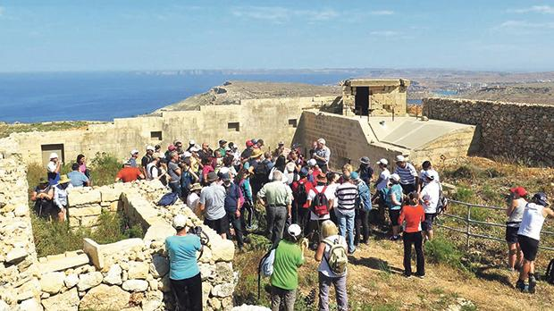 Visiting the Victoria Lines fort facing Fomm ir-Riħ.