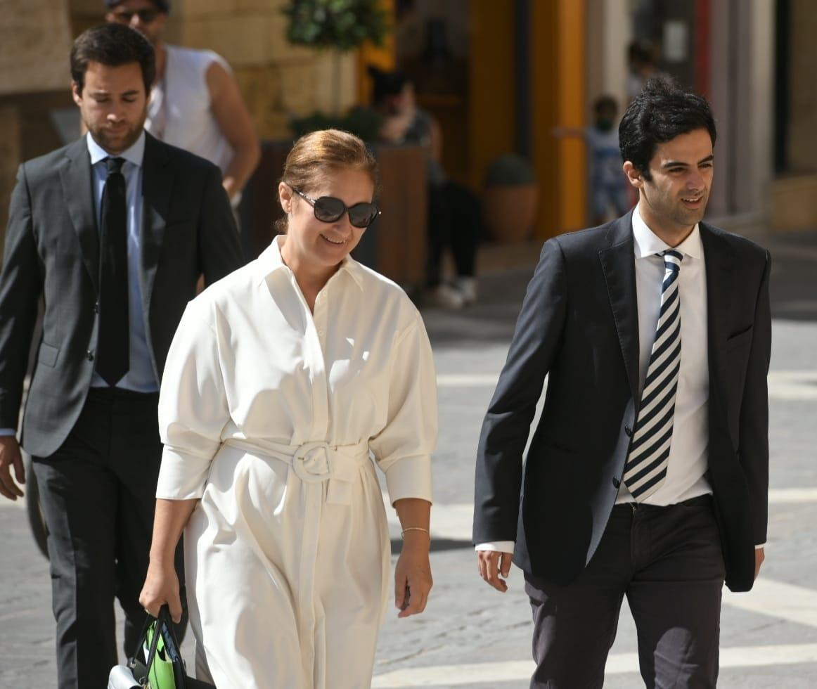 Lawyer Therese Comodini Cachia enters court accompanied by two of Caruana Galizia's sons. Photo: Matthew Mirabelli