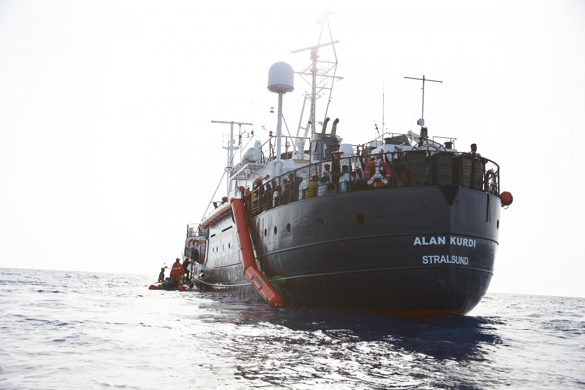 The migrants have been stranded on board the Alan Kurdi for more than a week.