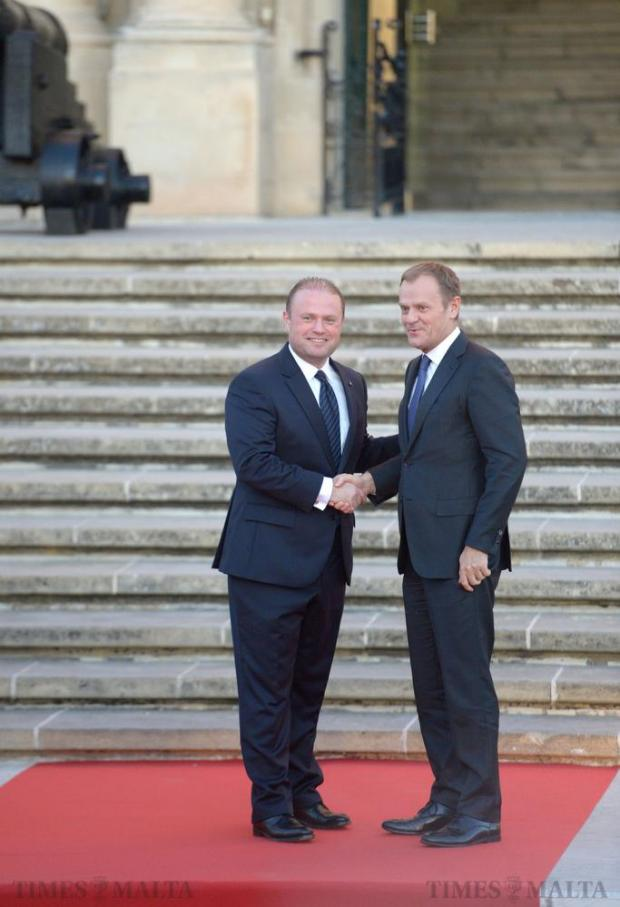 Prime Minister Joseph Muscat greets President of the European Council Donald Tusk on the steps of Castille on November 10. Photo: Matthew Mirabelli