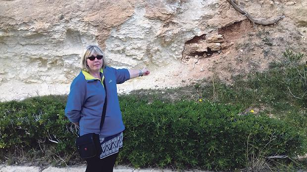 Sandra Mountford points to where her husband, Craig, spotted the remains.