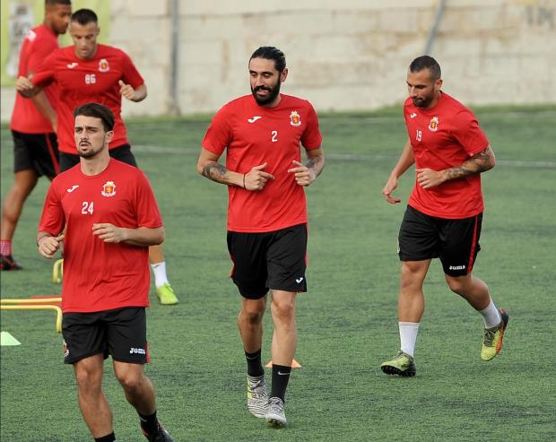 Jonathan Caruana (centre) during Valletta's training session. Photo: Chris Sant Fournier