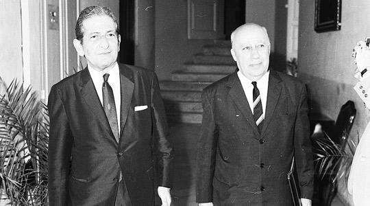 Giovanni Felice (right), former Minister of Finance with the then Nationalist Prime Minister George Borg Olivier. Photo courtesy of DOI.