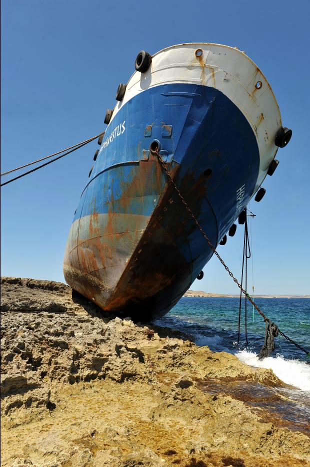 The hulk of the stricken Hephaestus which was shipwrecked in a storm on February 10 has become an attraction in Qawra on May 07.  Photo:  Chris Sant Fournier