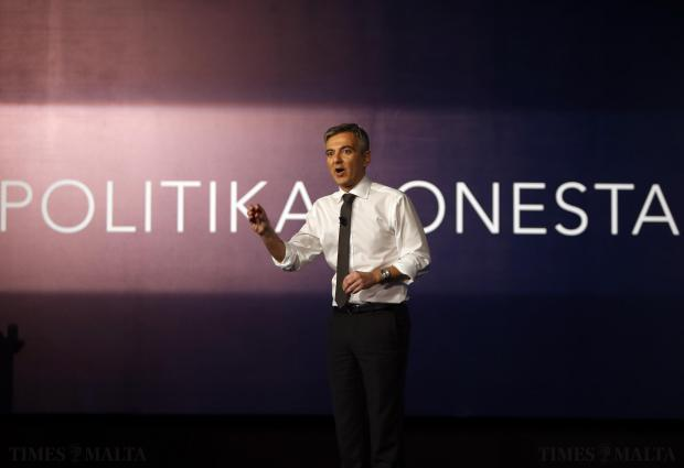 Nationalist Party leader Simon Busuttil addresses the party's general council at party headquarters in Pieta on November 30. Photo: Darrin Zammit Lupi