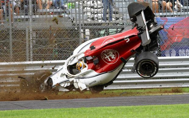 Sauber's Marcus Ericsson crashes during practice.