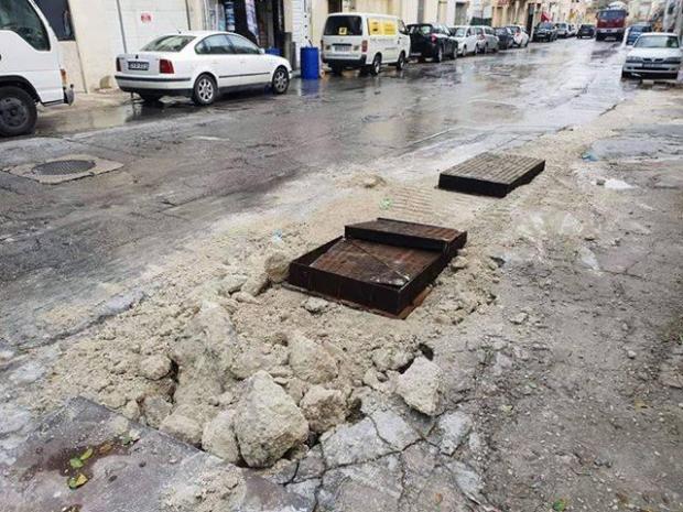 Damage in Balzan's Valley Road.