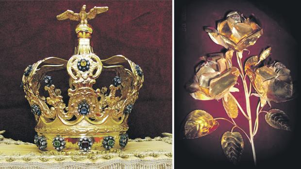The golden crown, studded with precious stones, laid on the head of the statue by Archbishop Mauro Caruana on September 4, 1921. Right: The golden rose placed at the foot of the statue by Cardinal Giacomo Lercaro on September 4, 1971. Photos: Victor Caruana