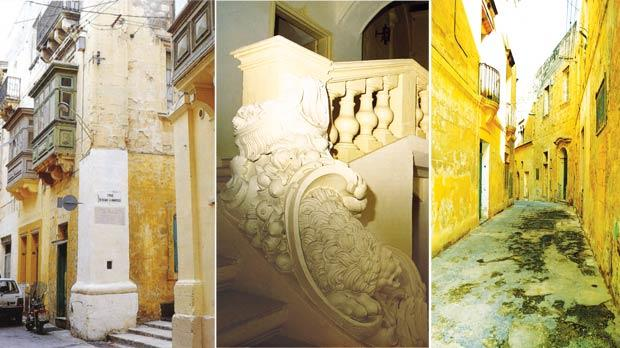From left to right: A massive pilaster in the Collachio marking the site of the ancient Auberge de Castille. Auberge de France: main staircase leading to the piano nobile, indicating the elegant sophistication of the French knights. A streetscape in the Collachio (before rehabiltation works) showing the early 16th century Auberge d'Angleterre.