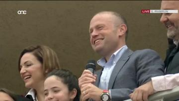 Watch: Muscat appeals for national unity as Labour supporters celebrate