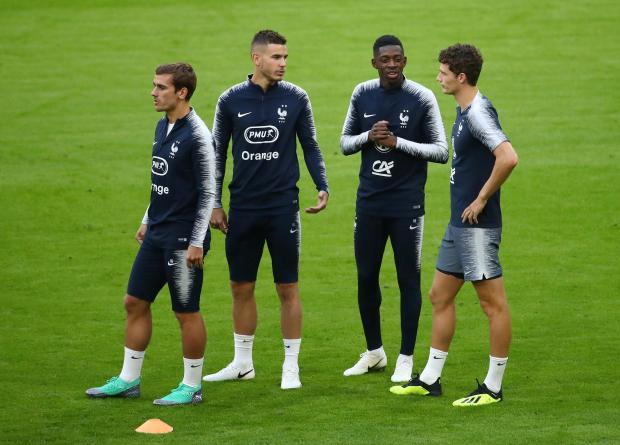 France's Antoine Griezmann, Lucas Hernandez, Ousmane Dembele and Benjamin Pavard during training.