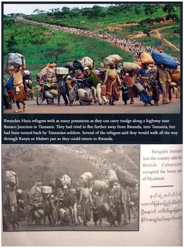 Combination photo of an image of Rwandan refugees published in a book about the Rohingya in Myanmar.