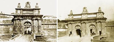 Portes des Bombes as was originally built by Grand Master Perellos in 1721. Right: In 1868 the British extended it by another arch. Pictures: Department of Information