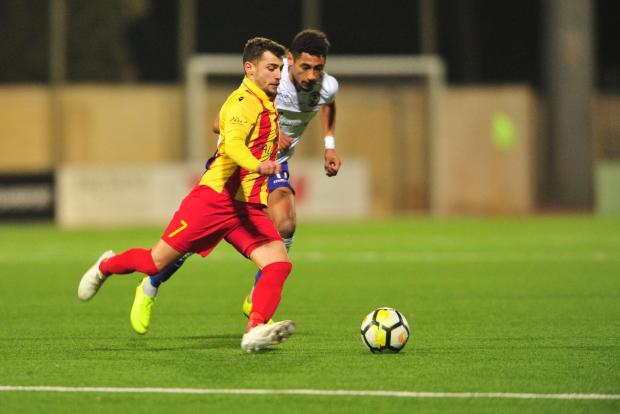 Leighton Grech in action for Senglea Athletic against St Andrews. Photo: Stephen Gatt