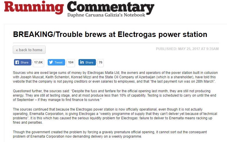 Daphne Caruana Galizia's blogpost about Electrogas.