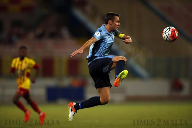 Sliema Wanderers' Alex Muscat, marking his 300th appearance in the Premier League, controls a high ball during their Premier League football match against Birkirkara at the National Stadium in Ta' Qali on September 18. Photo: Darrin Zammit Lupi