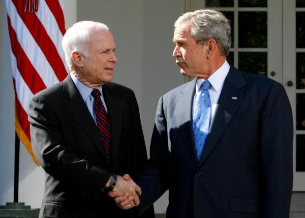 Senator McCain with President George W. Bush. Photo: Reuters