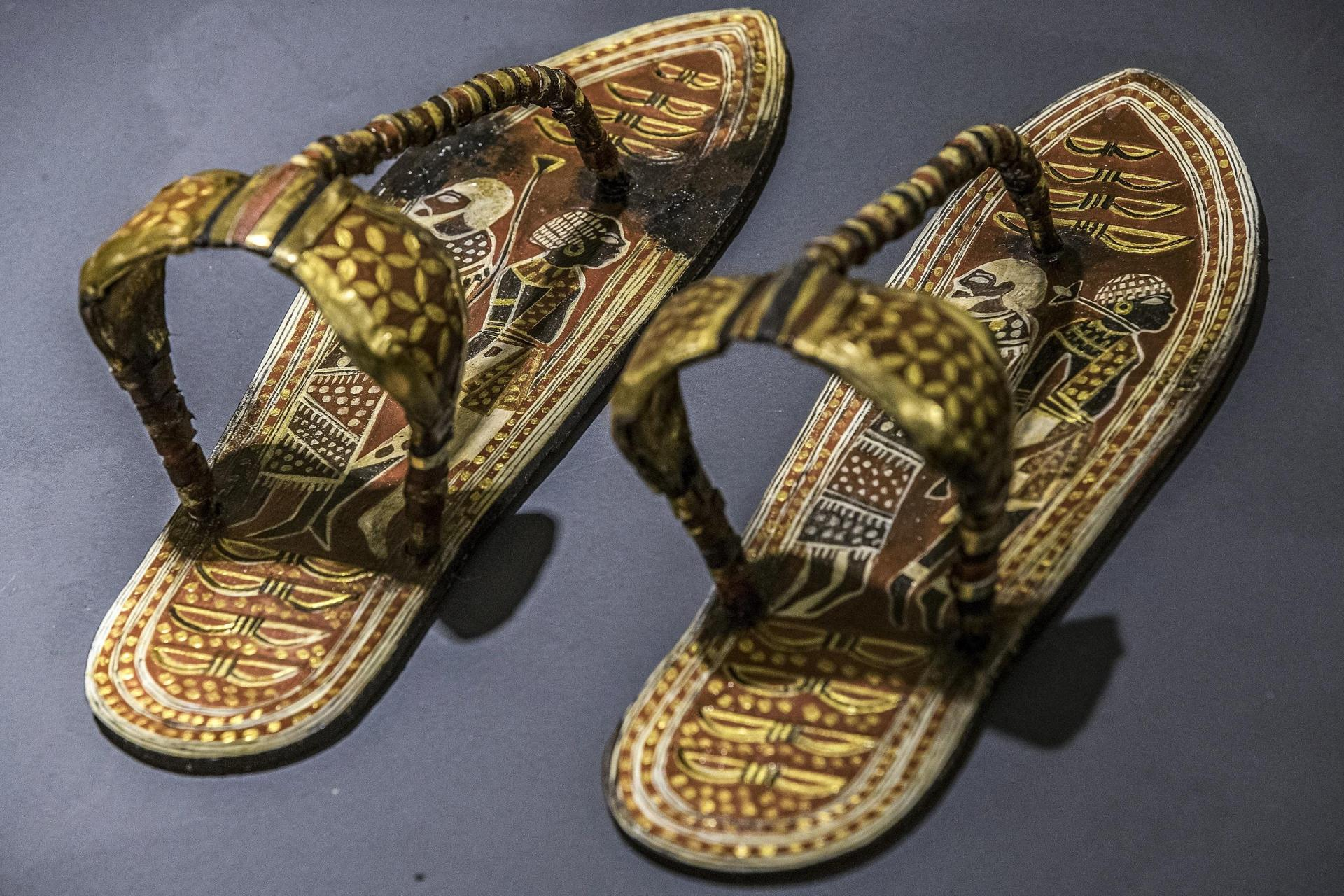 A replica of a sandal found at the tomb of Tutankhamun.
