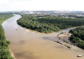 An aerial view of the Cuiaba river with the city of Cuiaba in the background. Photo: Joel Marcos/Reuters