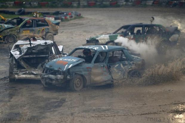 Drivers take part in a demolition derby organised by the Malta Motor Sports Association to raise funds for l-Istrina in Ta' Qali on December 20. The drivers have one ultimate aim - that their vehicle, or what's left of it, remains the only one standing. Photo: Darrin Zammit Lupi