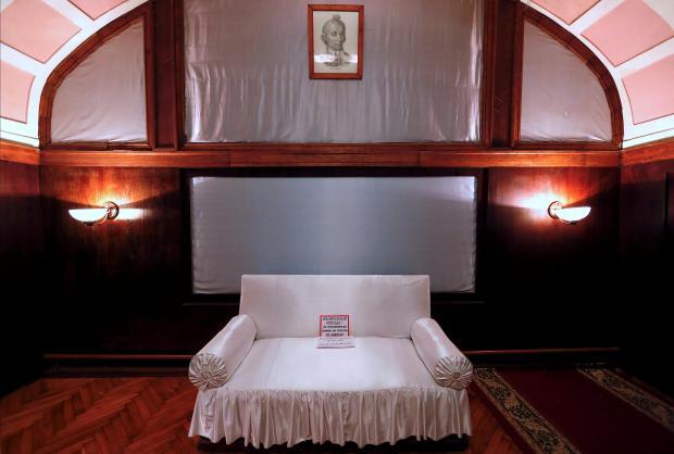 A couch is seen inside Stalin's Bunker in Samara.