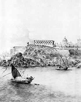 A drawing of Grand Harbour by Willem Schellinks showing the Lower Barrakka/Sacra Infermeria area of Valletta.