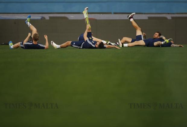 Scotland's players take part in a training session in preparation for a friendly football match against Italy at the National Stadium in Ta' Qali on May 28. Photo: Darrin Zammit Lupi