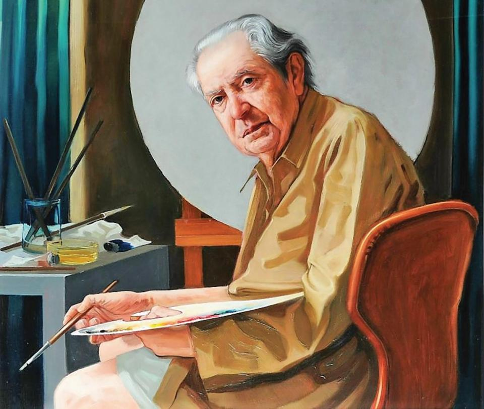 A portrait of Mario Caffaro Rore by his pupil Gianni Pelassa. Caffaro Rore was commissioned by Archbishop Michael Gonzi to paint the cathedral dome interior in 1954.