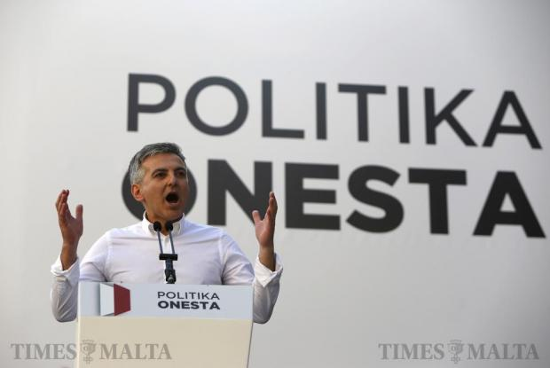 Nationalist Party and Opposition leader Simon Busuttil addresses the crowd during a demonstration against alleged government corruption in Valletta on March 6. Photo: Darrin Zammit Lupi