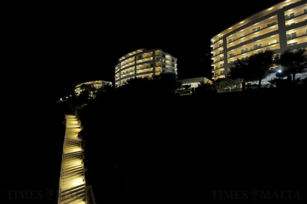 The Radisson Golden Sands Hotel is illuminated at night on December 16. Photo: Chris Sant Fournier