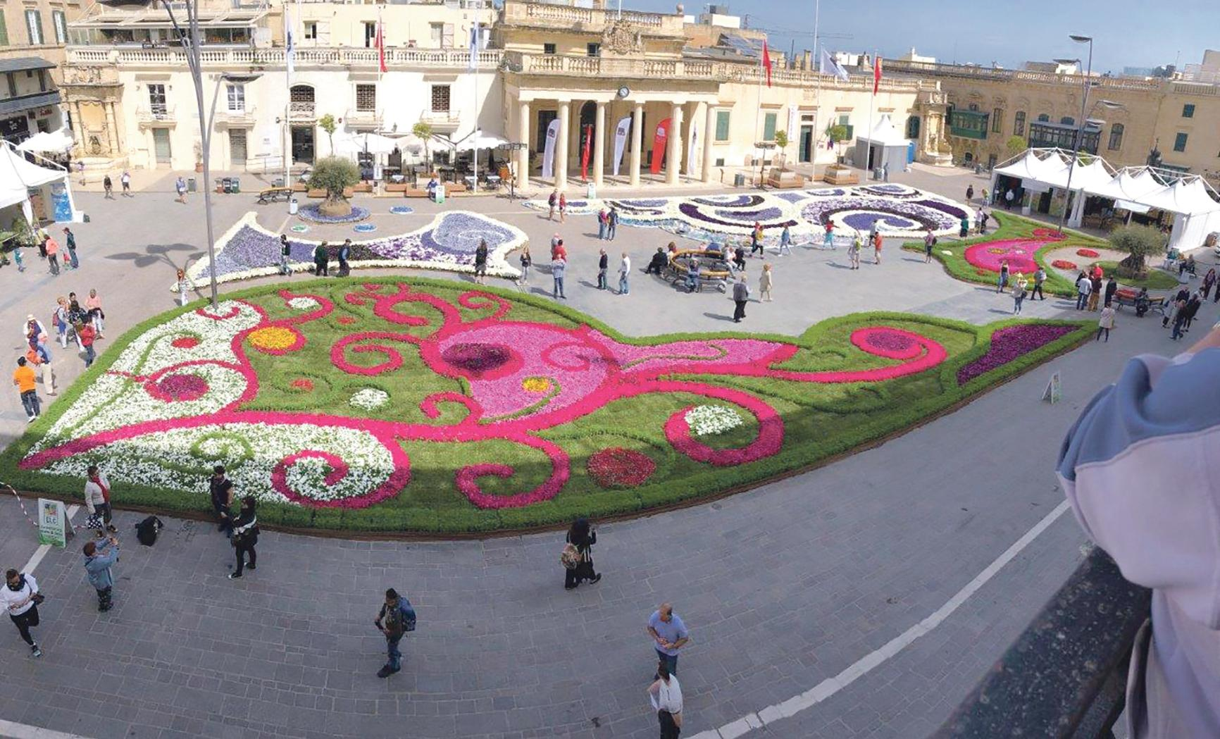 An infiorata gracing St George's Square, Valletta.