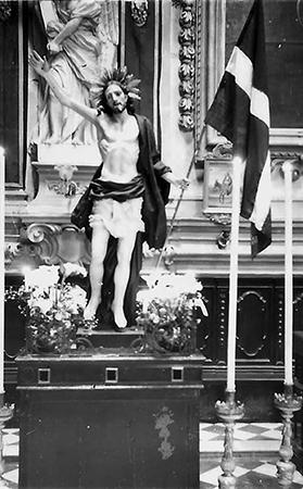 The statue of the Risen Christ displayed at the Oratory of the Holy Crucifix, Senglea, on April 22, 1962.