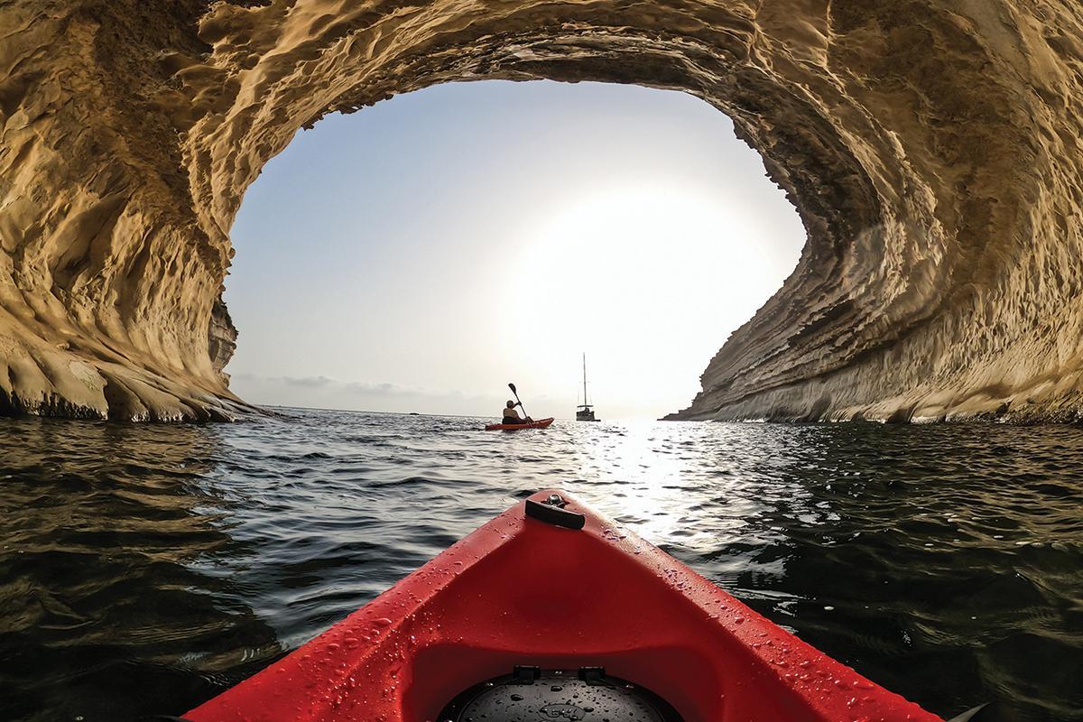 Kayaking in the Munxar area, off St Thomas Bay