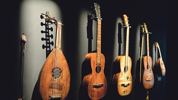 A set of guitars, including an early 19th-century Maltese kitarrina (second from left)