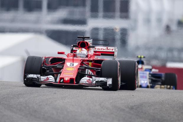 Ferrari driver Sebastian Vettel (5) of Germany during practice for the United States Grand Prix at Circuit of the Americas.